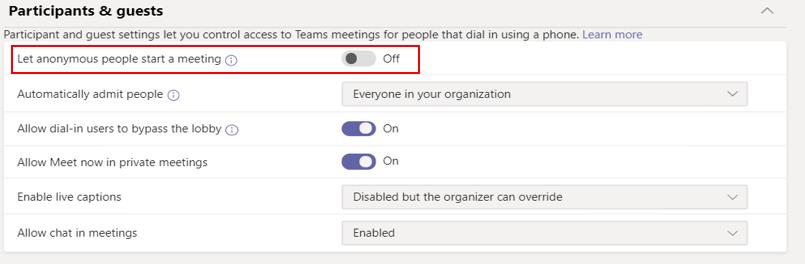 setari implicite lobby Microsoft Teams
